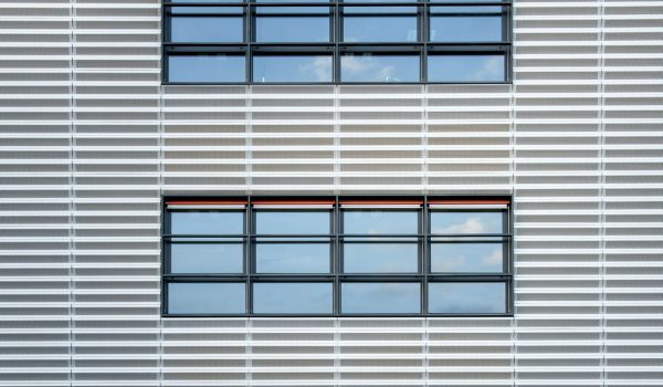 Symmetrical view of a modern commercial building